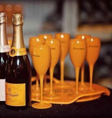 Veuve Clicquot Champagne Yellow Acrylic Flute Party Glasses Accessory New Set x6 3