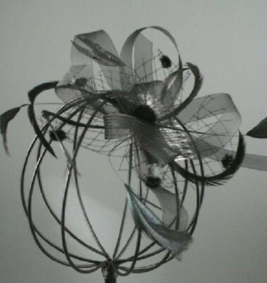 Black Looped Net Mesh and Feather Fascinator with Comb Fitting 4