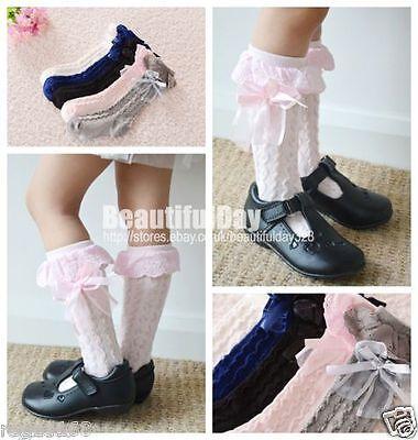 Baby Girls Children Toddler Cotton Knee High Frilly Trim Socks 9 months-6 years 2