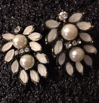 "Black Enamel Clear White Rhinestone Crystal Faux Pearl Earring Floral 1"" Cluster"