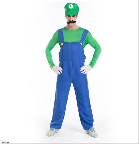 Adult Men Super Mario and Luigi Bros Fancy Dress Halloween Costume COS Plumber 3