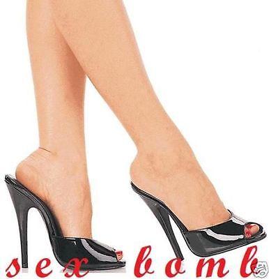 SEXY sabot sandalo domina nero lucido TACCO spillo 15 DAL 35 AL 44 GLAMOUR ! 7