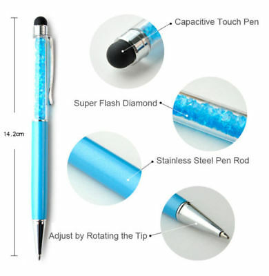 New Diamond Crystal Pen Glittering Ballpoint Stylus Touch Stationery Gift 2 IN 1 3