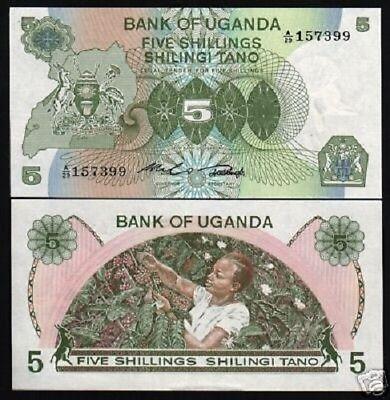 Uganda 5 Shillings P10 1979 Crane Kangaroo Building Unc Currency Money Bank Note