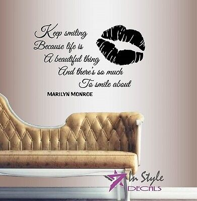 KEEP SMILING Marilyn Monroe inspirational Quote Decal WALL STICKER Art SQ64