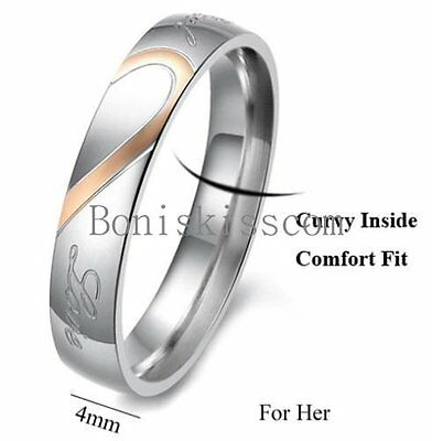 Couple Love Heart Stainless Steel Comfort Wedding Band Engagement Promise Ring 5
