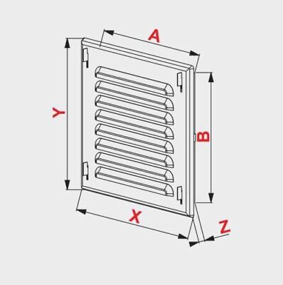 Black Metal Air Vent Grille 165mm x 165mm with Fly Screen and Fitting Frame
