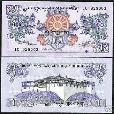 Bhutan 1 Ngultrum P27 2006 Bundle Dragon Dzong Unc Banknote Money X 100 Pcs Bill 2