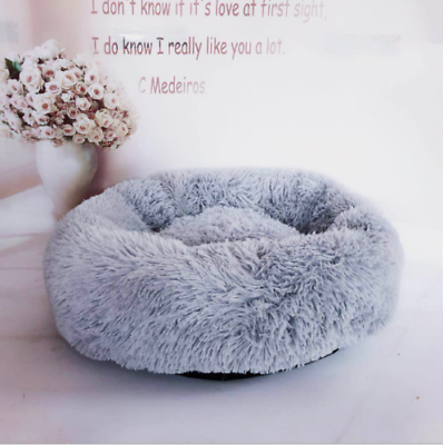 UK Comfy Calming Dog Cat Bed Round Super Soft Plush Pet Bed Marshmallow Cat Bed 2