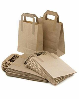 50 X Large Kraft Paper Brown Sos Food Carrier Bags With Handles Brown Paper Bags 9