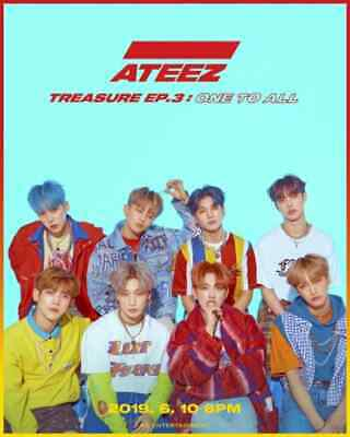 US SHIPPING Ateez-[Treasure Ep.3:One To All] CD+Poster/On+Book+Card+etc 3