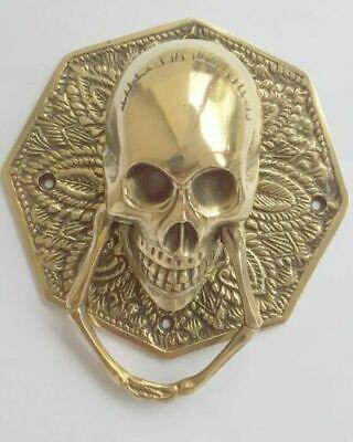 "heavy SKULL door KNOCKER head ring pull Handle pure brass 4"" day dead polished B 7"