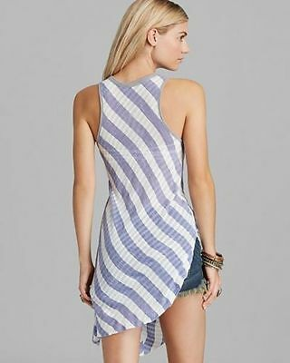 MSRP $78 Free People F486U846 Purple//White Combo Striped Topsy Turny Tank Top