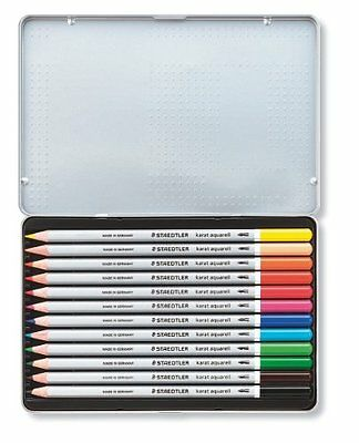 Staedtler - Karat Aquarell Watercolour Pencils - Assorted Colours - Tin of 12 3