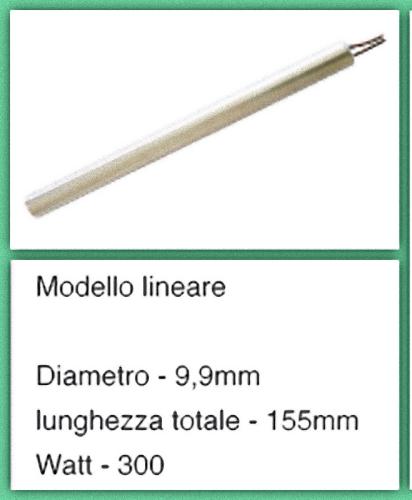 Candeletta accensione resistenza Diam. 9,9 mm 300 W 155 mm NORDICA EXTRAFLAME 2