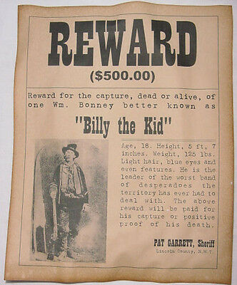 5 Old West Posters Outlaw Billy the Kid Jesse James Geronimo Doc Holliday wanted 2