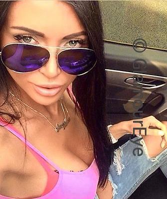 Dames: accessoires Large Blue Mirror Gold Metal Frame Aviator Hot Famous Designer Sunglasses 3683