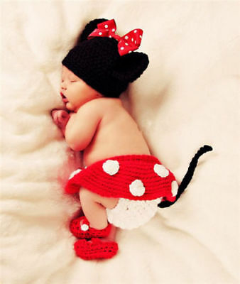 Newborn Baby Girl Boy Crochet Knit Costume Photo Photography Prop Hats Outfits 6