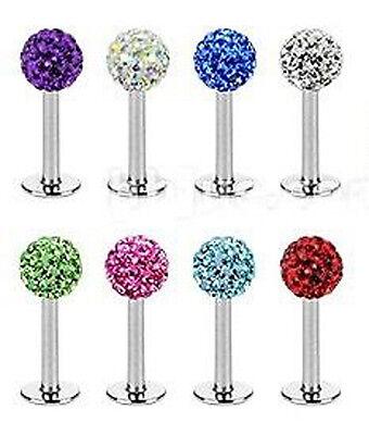 Ferido Crystal Shamballa Monroe Lip Stud Labret Bar Tragus Piercing Jewellery 2