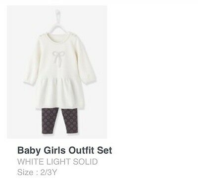Toddler Girl Outfit Set White With Leggings Size 2-3 Years By Vertbaudet 3