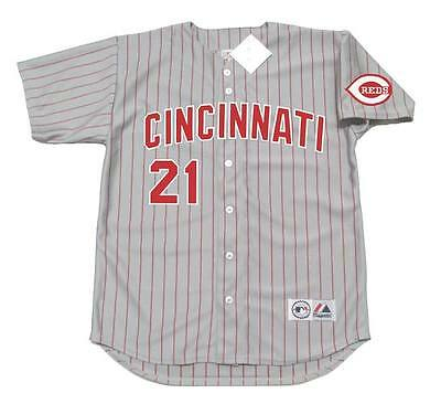 Sports Memorabilia, Fan Shop & Sports Cards Cincinnati Reds Jersey #21 Deion Sanders Road Gray Throwback Pullover Men's sewn