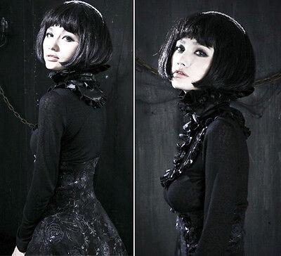 Top haut gothique lolita victorien steampunk jabot camée broderies Punkrave Noir 4