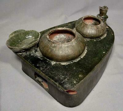 Ancient Chinese Han Dynasty 25-220 A.D. Green Glazed Pottery Cooking Stove Model 7