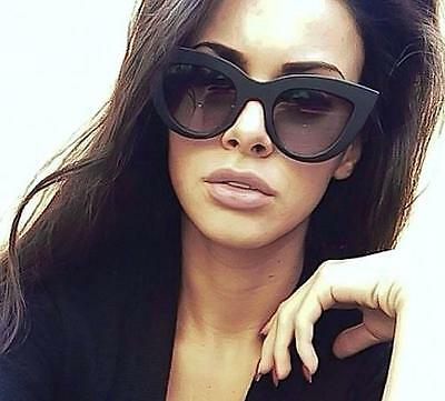 Thick Designer Fashion Cat Eye Glossy BLACK Gradient Blogger LUX Sunglasses 6249