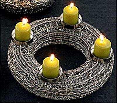 adventskranz metall silber sehr edel h8244 adventsdeko weihnachtsdeko kranz picclick de. Black Bedroom Furniture Sets. Home Design Ideas