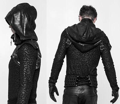 Details zu Übertragbar Kapuzen Jacke Mantel Gothic Punk Grunge Riemen Mode PunkRave Herren
