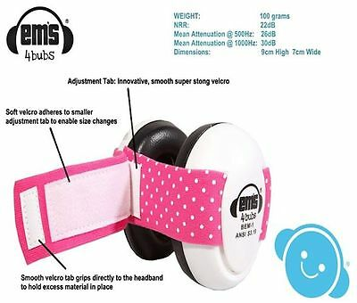 Em's 4 Bubs Adjustable Size Infant Baby Hearing Protection Earmuffs Headphones