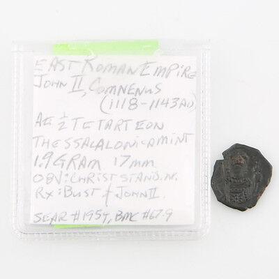 1118-1143 East Roman Byzantine AE 1/2 Tetarteon XF John II Comnenus Half S#1954