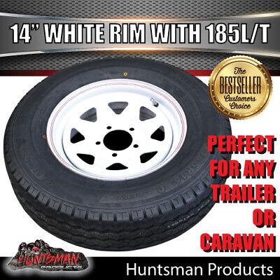 14 x 6 185 LT Sunraysia Ford Wheel Rim & Tyre White Trailer Caravan Boat 185R14