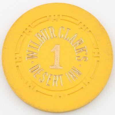 Wilbur Clark's Desert Inn Casino Roulette Chip Las Vegas Table 1 H Mold Yellow 3