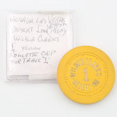 Wilbur Clark's Desert Inn Casino Roulette Chip Las Vegas Table 1 H Mold Yellow 4