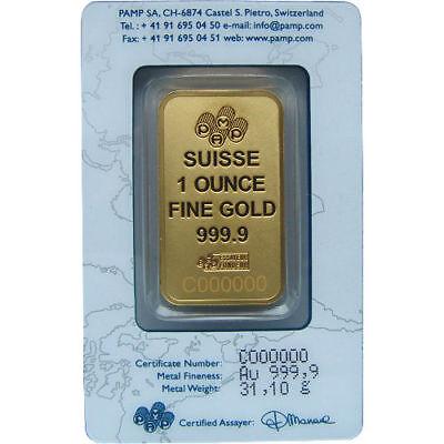 1 oz PAMP Suisse Gold Bar (PAMP Design, New w/ Assay) 2