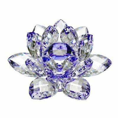 Large Blue Crystal Lotus Flower Ornament With Gift Box  Crystocraft Home Decoruk