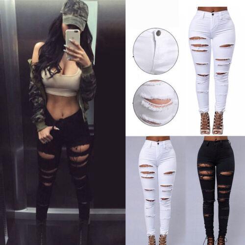 Women's Denim Pants Ripped Destroyed Slim Skinny Boyfriend Casual Jeans Trousers
