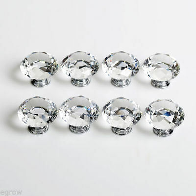 10Pcs 30mm Clear Diamond Crystal Glass Pull Handle Cabinet Drawer Door Knob Uni 3