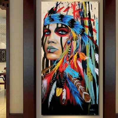 Abstract Indian Woman Canvas Oil Painting Print Picture Home Wall Art Decor 2