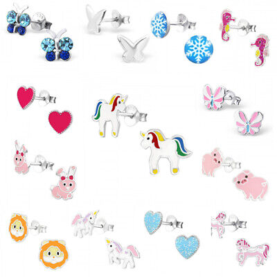 925 Sterling Silver Earrings Studs Girls Cute Kids Unicorn Rainbow Daisy Heart 10