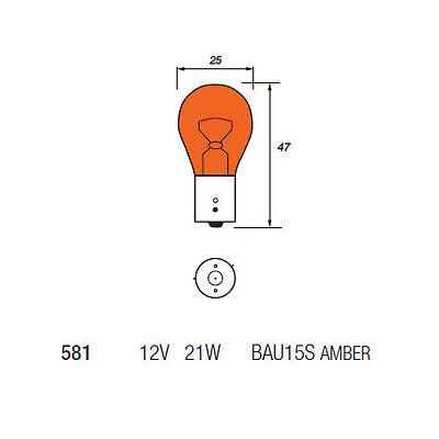 10 x Eurolec 581 PY21W BAU15S Amber Front Rear Indicator Car Light Bulb 12v 21w