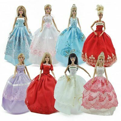 5pcs/Lot Barbie Doll Fashion Princess Dresses Outfits Party Wedding Clothes Gown 3