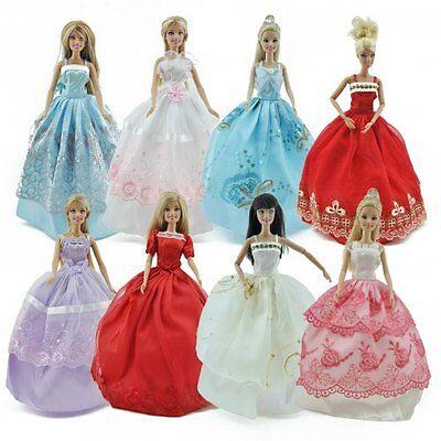 5pcs/Lot Barbie Doll Fashion Princess Dresses Outfits Party Wedding Clothes Gown 3