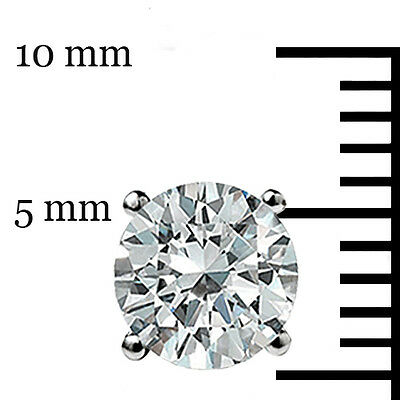 1.50 Ct Round cut Solitaire Stud Earrings Lab D Ideal Screw back 14k White Gold 5