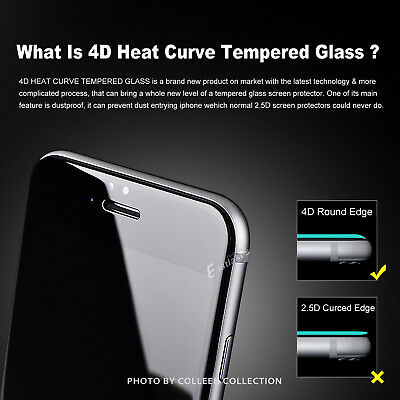 For Apple iPhone X 6s 7 8 Plus - 4D Full Cover Tempered Glass Screen Protector 2