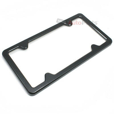 Black Carbon Fiber Custom License Plate Tag Snap Fit Frame for Auto-Car-Truck