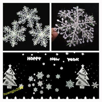 12/30/ 60pcs Classic White Snowflake Ornaments Christmas Tree Party Home Decor F 2