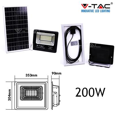Faro Energia Solare Led Con Pannello Faretto Crepuscolare + Telecomando V Tac 2