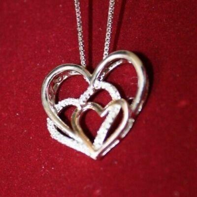 "XPY 14k Rose Gold/Sterling Silver, Diamond Triple Heart Pendant, 18"" Chain 2"